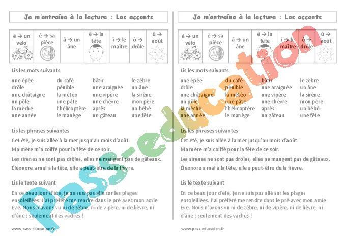 Leçon, trace écrite Accents : CE1 - Cycle 2 - Pass Education