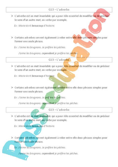 Leçon, trace écrite Adverbes : CE2 - Cycle 2