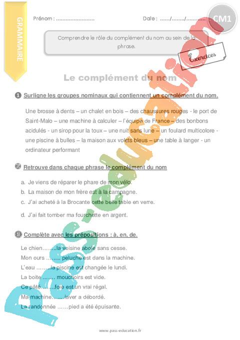 Complément du nom : CM1 - Cycle 3 - Exercice évaluation révision leçon - Pass Education