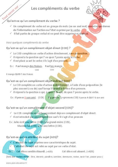 Complement Du Verbe Cm1 Cycle 3 Exercice Evaluation Revision Lecon