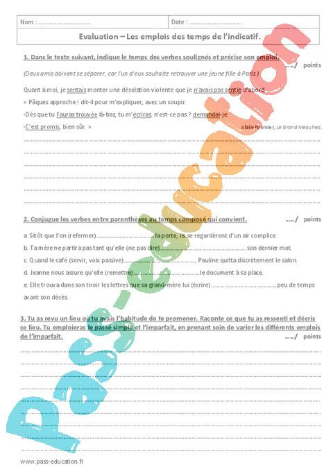 Conjugaison 4eme Soutien Scolaire Exercices Cours Evaluation Revision
