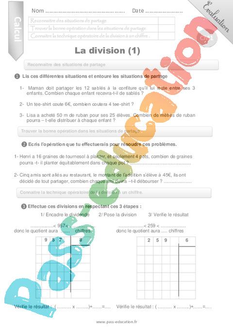Division, partage : CM1 - Cycle 3 - Exercice évaluation ...