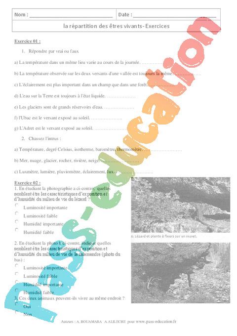 Environnement Proche Etres Vivants 6eme Cycle 3 Exercices Cours Evaluation Revision