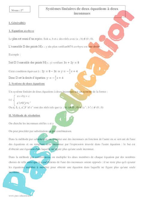Equations de droites - systèmes : Seconde - 2nde ...