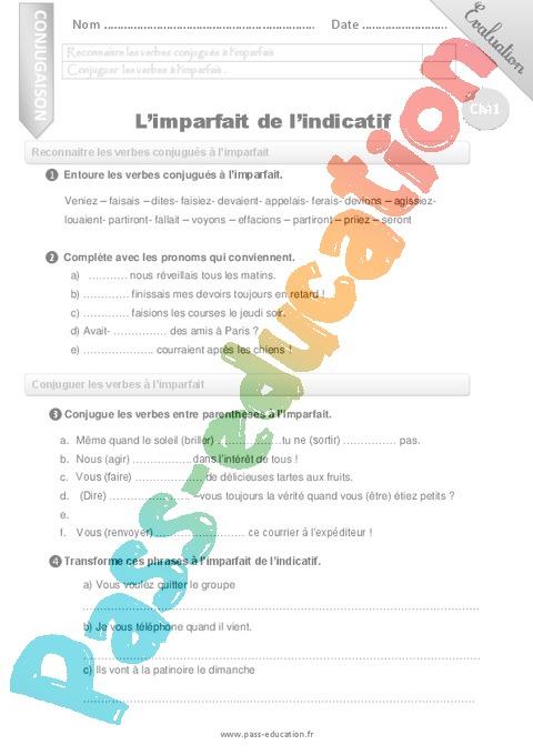 Evaluation Conjugaison Cm1 Cycle 3 Bilan Et Controle Corrige