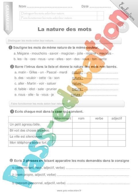 Evaluation Grammaire : CE2 - Cycle 2 - Bilan et controle ...