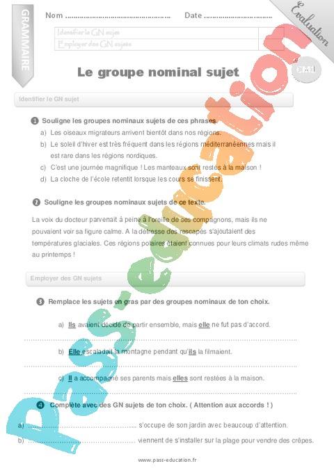Evaluation Groupe nominal : CM1 - Cycle 3 - Bilan et controle corrigé - Pass Education