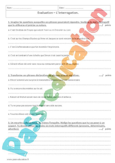 Evaluation Phrase / Types de phrase : 5ème - Bilan et ...