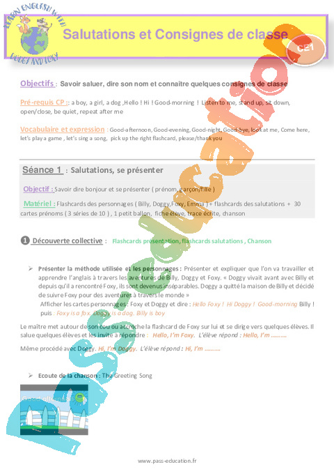 Exercice Anglais : CE1 - Cycle 2 - Pass Education
