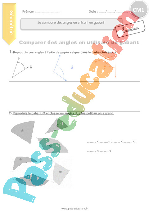Exercice Angles : CM1 - Cycle 3 - Pass Education