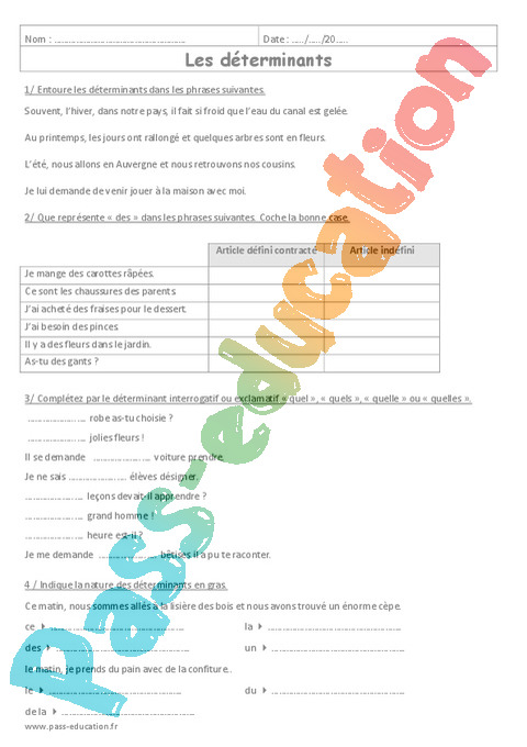 Exercice Article Et Determinant 6eme Cycle 3