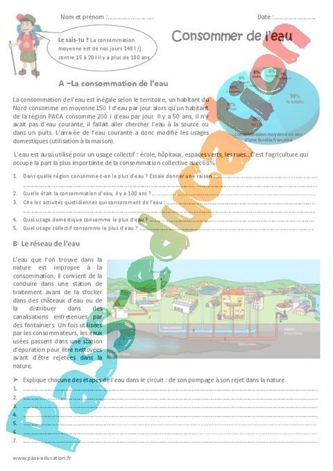Exercice Besoins en énergie, en eau : CM1 - Cycle 3 - Pass ...