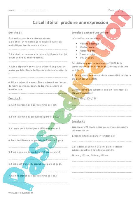 Exercice Calcul littéral : 5ème - Pass Education