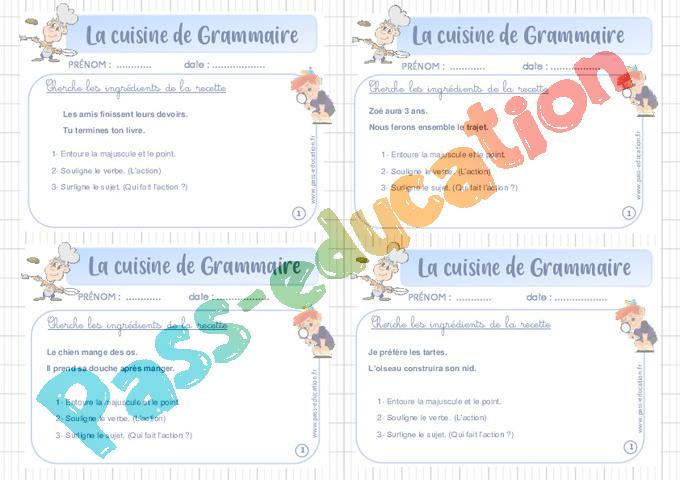 Exercice Cuisine De Grammaire Ce2 Cycle 2 Pass Education