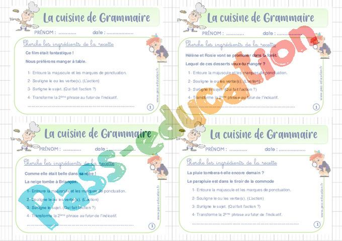Exercice Cuisine de grammaire : CM1 - Cycle 3 - Pass Education