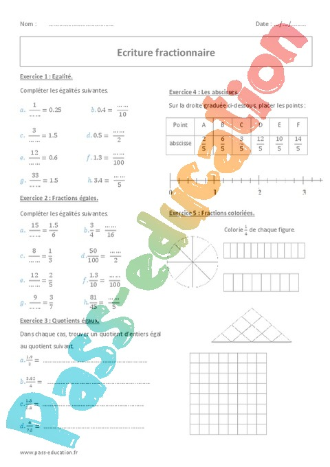 Exercice Fractions : 6ème - Cycle 3 - Pass Education