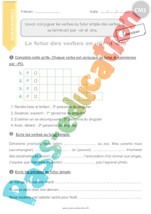 Exercice Futur de l'indicatif : CM1 - Cycle 3 - Pass Education