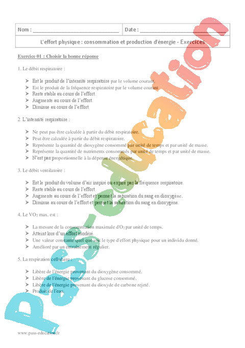 Exercice L'effort physique : Seconde - 2nde - Pass Education