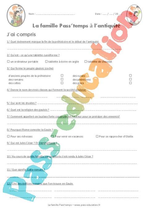Exercice Les origines de la Gaule : CM1 - Cycle 3 - Pass Education