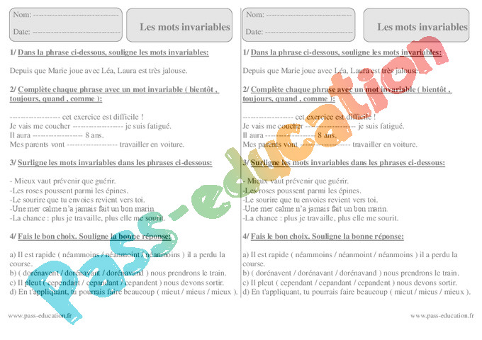 Exercice Mots Outils Invariables Ce2 Cycle 2