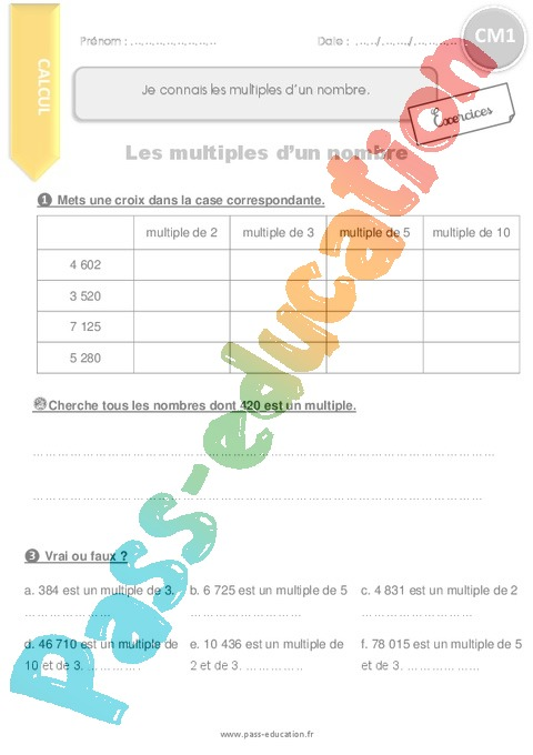 Exercice Multiples : CM1 - Cycle 3 - Pass Education