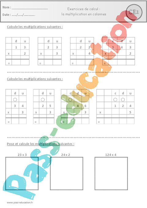 Exercice Multiplication : CE1 - Cycle 2 - Pass Education