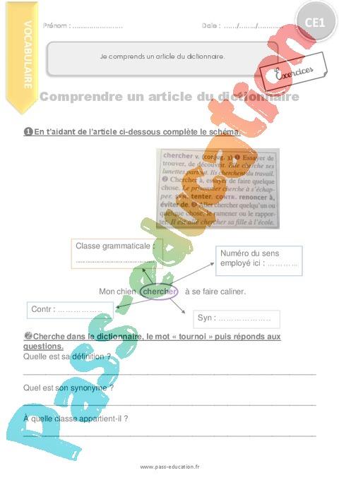 Exercice Ordre alphabétique / Dictionnaire : CE1 - Cycle 2 ...