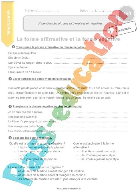 Exercice Phrase / Types de phrase : CE1 - Cycle 2 - Pass ...