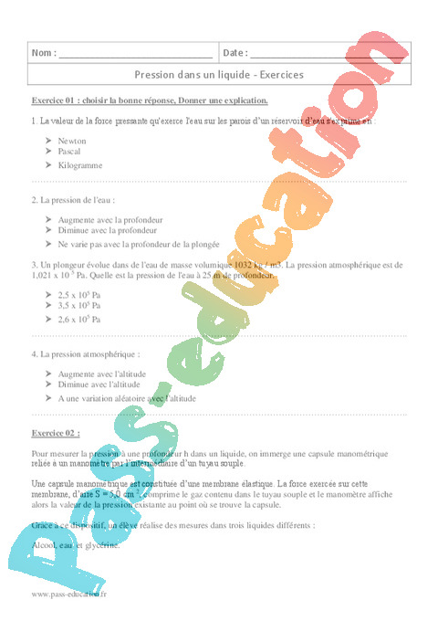 Exercice Physique Chimie Seconde 2nde
