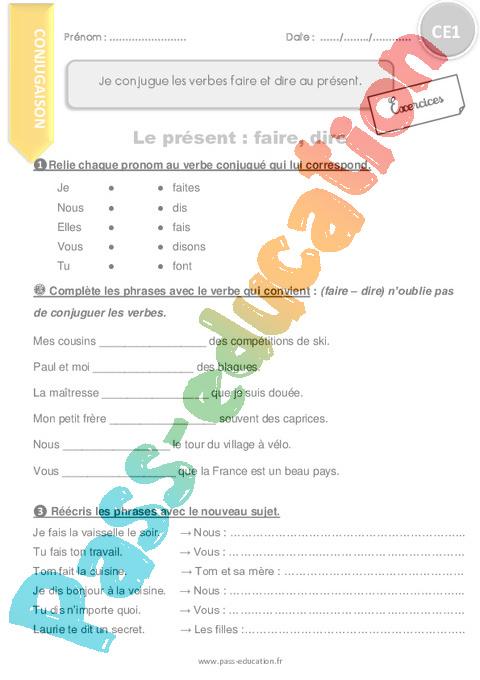 Exercice Present De L Indicatif Ce1 Cycle 2