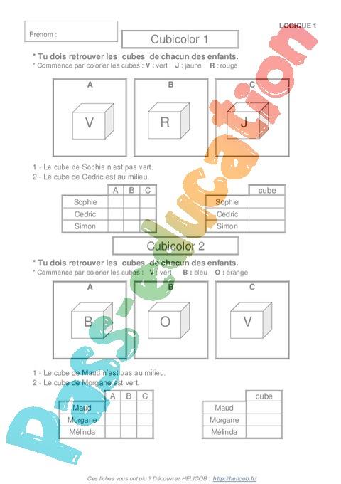 Exercice Problème de logique : CP - Cycle 2 - Pass Education
