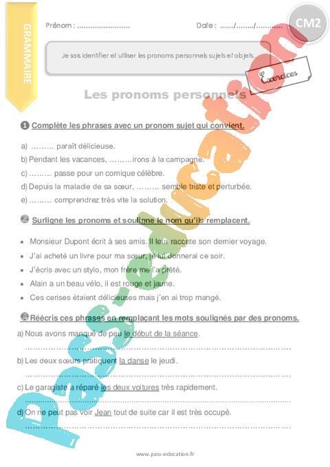 Exercice Pronom : CM2 - Cycle 3 - Pass Education