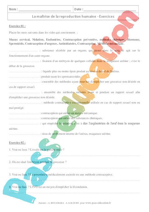 Exercice SVT : 4ème - Pass Education