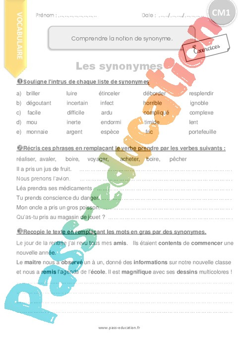 Exercice Synonymes : CM1 - Cycle 3 - Pass Education