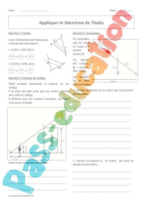 Exercice Théorème de Thalès : 4ème - Pass Education