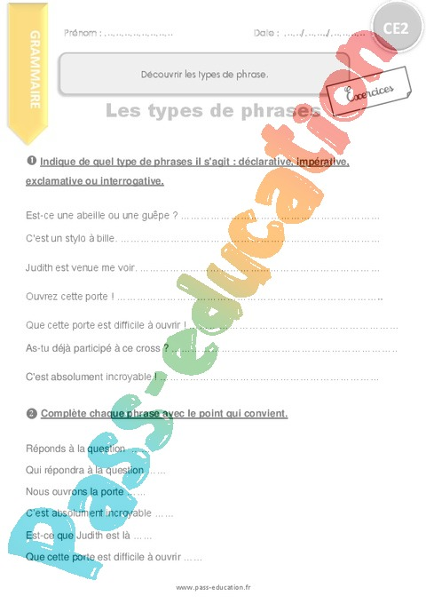 Exercice Types de phrases : CE2 - Cycle 2 - Pass Education