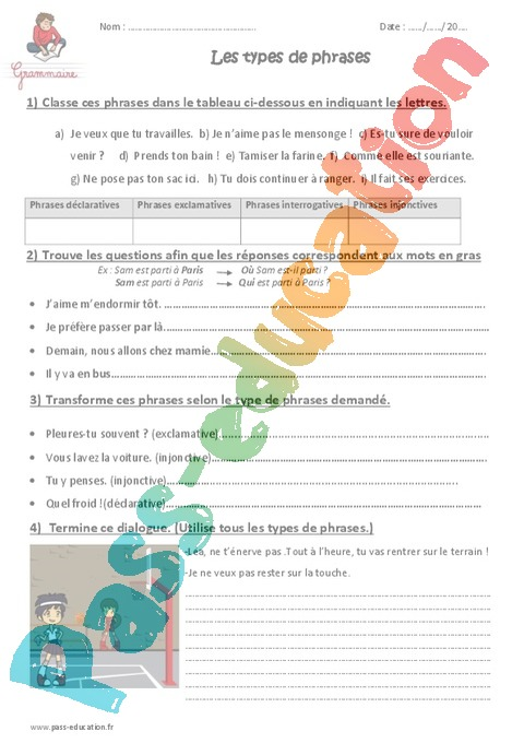 Exercice Types de phrases : CM2 - Cycle 3 - Pass Education