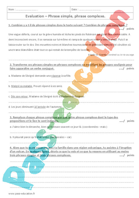 Francais 4eme Soutien Scolaire Exercices Cours Evaluation Revision