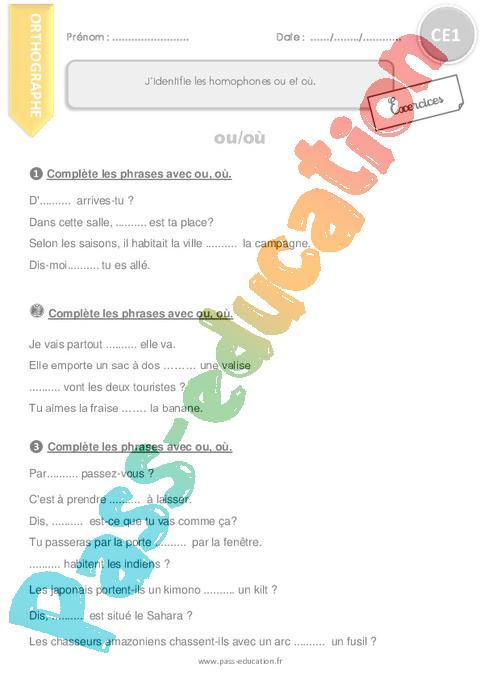 Francais Ce1 Cycle 2 Soutien Scolaire Exercice Evaluation Revision Lecon