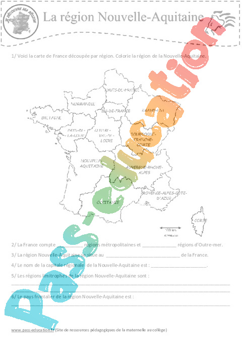 Géographie : CM1 - Cycle 3 - Exercice évaluation révision leçon - Pass Education