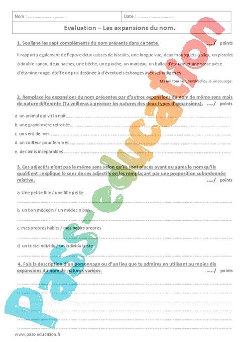 Groupe nominal : 5ème - Exercices cours évaluation révision