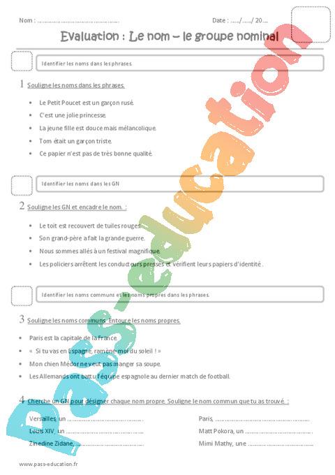 Nom : CM1 - Cycle 3 - Exercice évaluation révision leçon