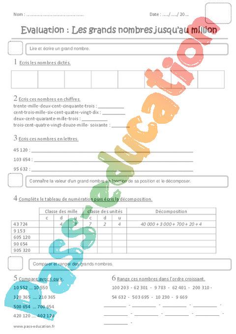 Numeration Ce2 Cycle 2 Soutien Scolaire Exercice Evaluation Revision Lecon