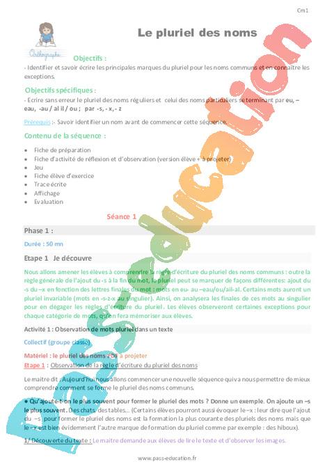 Orthographe : CM1 - Cycle 3 - Exercice évaluation révision leçon - Pass Education
