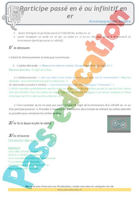 Participe passé : CM1 - Cycle 3 - Exercice évaluation ...