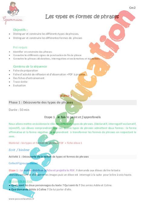 Phrase / Types de phrase : CM2 - Cycle 3 - Exercice évaluation révision leçon - Pass Education