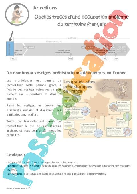 Préhistoire : CM1 - Cycle 3 - Exercice évaluation révision leçon - Pass Education