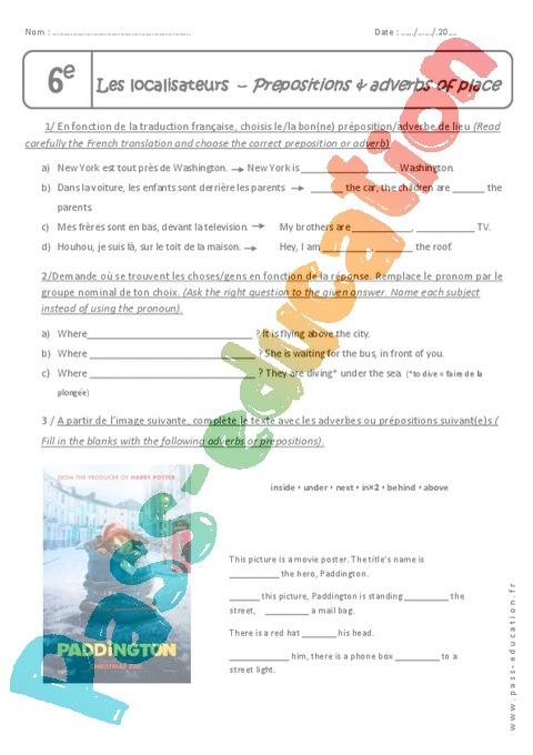 Prépositions - Anglais : 6ème - Cycle 3 - Exercices cours évaluation révision - Pass Education
