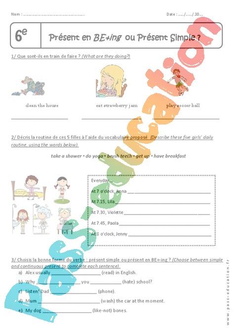 Présent simple - Anglais : 6ème - Cycle 3 - Exercices cours évaluation révision - Pass Education