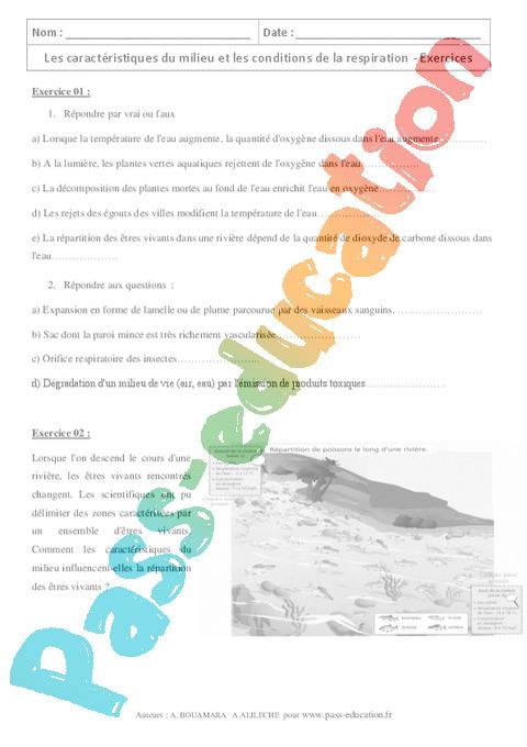 Respiration Et Occupation Des Milieux De Vie 5eme Exercices Cours Evaluation Revision